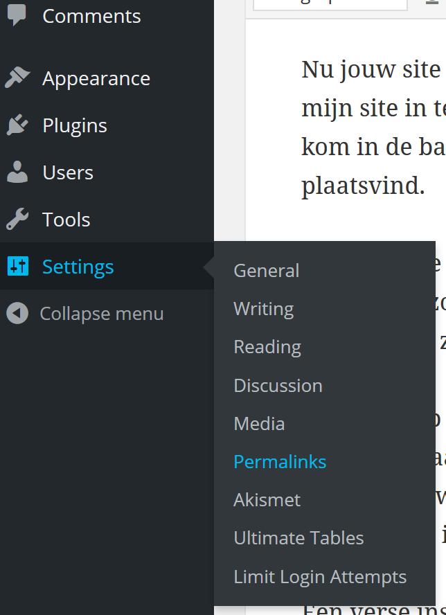 wordpress permalinks setting