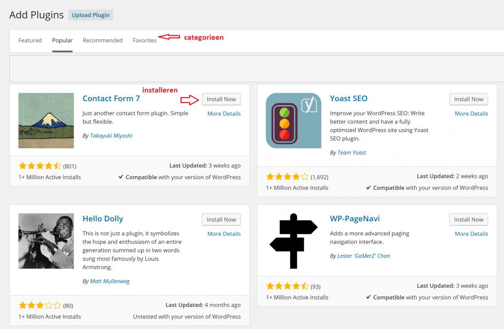 wordpress plugin uitzoeken en installeren